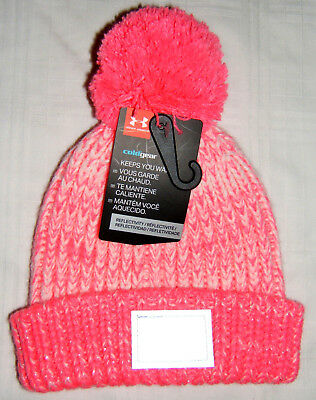 4afc8c4f2bb UA Under Armour Cold Gear Winter Knit Pom Hat Toddler Girls Small 1-3 Years