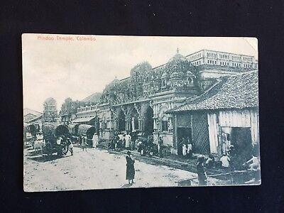 Vintage Collectable Postcard - 1906 - Hindoo Temple, Colombo - Union Postale