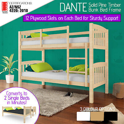 Single Bed Bunk Solid Pine Timber Wooden Frame Beds Children Bedroom Furniture