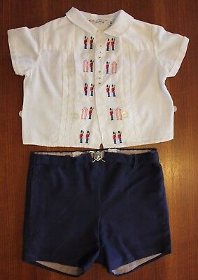 VINTAGE 1960s Baby Boys Swiss Cotton London Guard Embroidery Shirt & Shorts 0 1