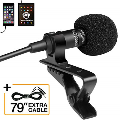 Professional Grade Lavalier Lapel Microphone ­ Omnidirectional Mic with Easy On