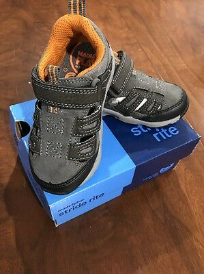 cc52ad38ef06d1 NIB STRIDE RITE Baby Toddler Boys Shoes M2P Baby Allen Grey Size 5M MADE 2  PLAY