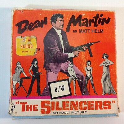 "Vintage 8mm Super 8 Sound B & W Movie ""The Silencers"" Dean Martin"