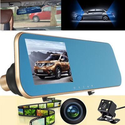 Dual Lens Rear View Mirror Video Car4.3 Driving Recorder DVR Monitor Back Camera