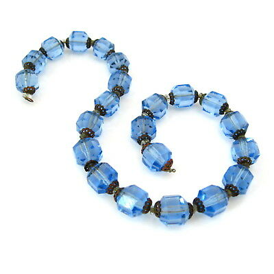 Vintage Art Deco Blue Czech Glass Necklace for Repair, 1930s Faceted Bead Choker