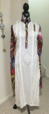 White Pakistani Shalwar Kameez/Dress/Tunic/Kurta with Dupatta and Pant India