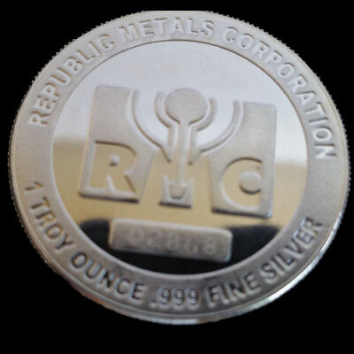 RMC Republic Metals Co 1 Troy Oz .999 Fine Silver Round One Ounce In Air-Tight