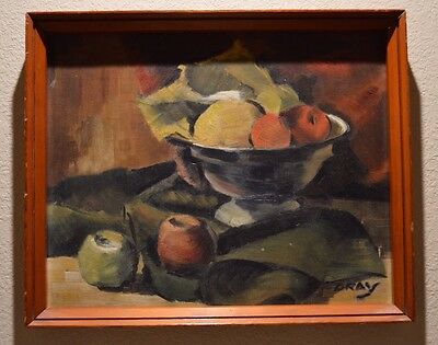 ANTIQUE STILL LIFE OIL PAINTING Signed Clarence Gray, Ohio Artist