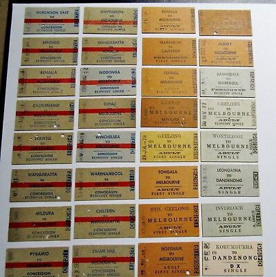 Victorian Railways ..  66 Original Country Issued.. Different Tickets Set 2