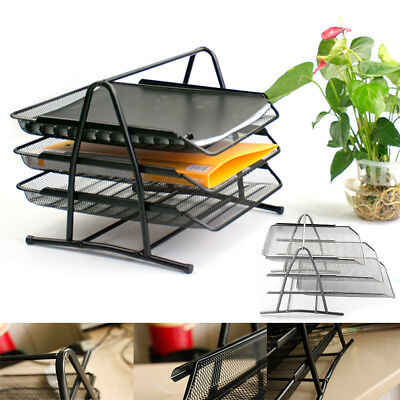 Trays Holder A4 Tier Office Filing Paper Wire Mesh Storage Organiser UK