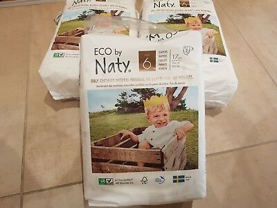 2 unopened and 1 open pack of Naty Eco Nappies Size 6 -17 in each