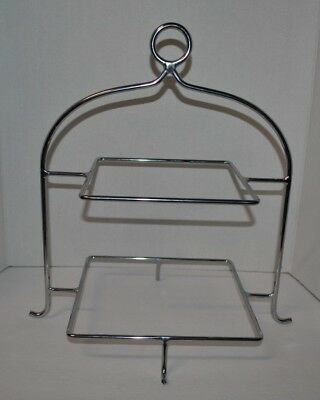 Two 2 Tier Chrome Plate Holder Rack Stand, plates not included