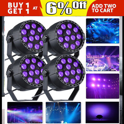 1/4x 12W UV LED Black Light Par Light DMX Stage Lighting Disco Party Wall Washer