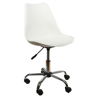 Office Chair White Low-Back Ergonomic Support PU Leather Computer Chair Comfort