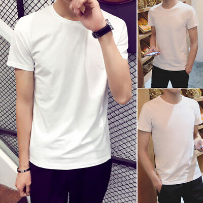 Men T-Shirt Short Sleeve Basic Tee Slim Fit Casual Tops Cotton White Summer