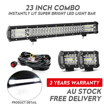 Tri-row 23inch LED Light Bar Flood Combo Offroad Driving 4'' Truck Front Jeep