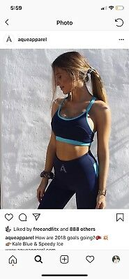 Aque Apparel Xs Matching Gym Set Blue Crop & Leggings BNWOT 6