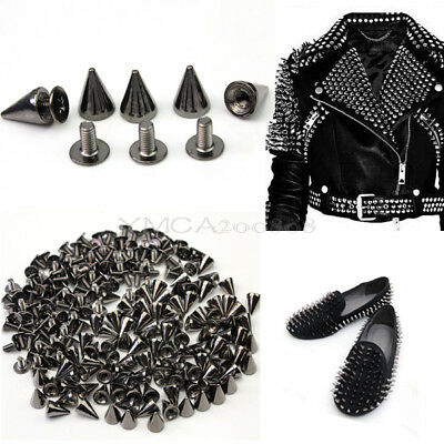 100pcs Gun Black Punk Spike Rivet Screw Bead DIY Metal Cone Studs Nailhead Spot