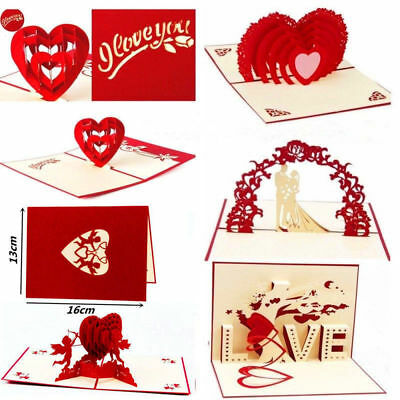 3D Pop Up Greeting Card Engagement Wedding Birthday Anniversary Valentines Gifts