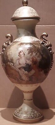 Lovely Large Vintage Renaissance Lovers Scene Lidded Urn  Jardinier