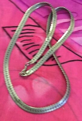 Vintage Antique Silver Chunky Flat Chain Necklace Estate Find Vtg Grunge Retro