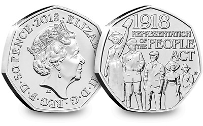 2018 The People Act 1918 50p coins Fifty Pence Coin slightly circulated