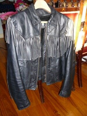 Women's Vintage Black Leather Motorcycle jacket Tassels, SCHOTT USA Size 12