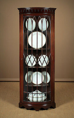 Antique Bow Front Corner Display Cabinet c.1910.