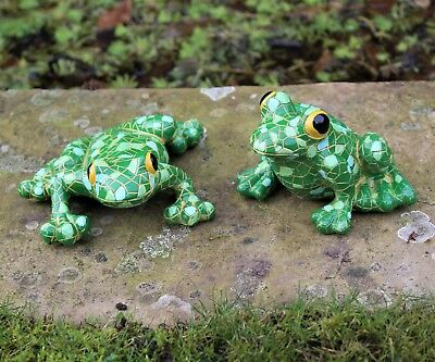 Mosaic Garden and Tree Frog, Frogs Garden Ornament Gift Two Designs