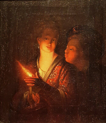 Oil painting of two figures by candlelight after Godfried Schalcken (1643-1706)