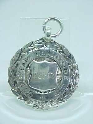 Antique Solid Silver Pocket Watch Chain Fob/medal C1951