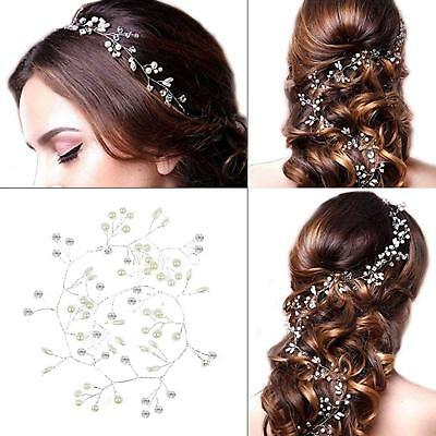 Pearl Hair Vine Wedding Crystal Bridal Accessories Diamante Headpiece Uk Stock