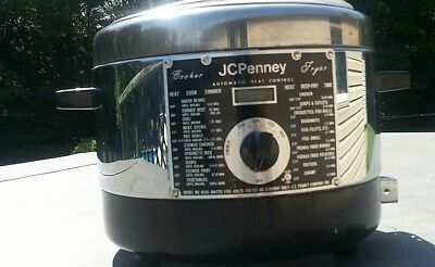 vintage deep Fryer Cooker Chrome Retro!JcPenney Tested 50s 4555 1150 watts prop