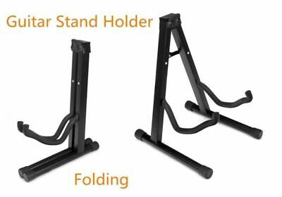 Portable Folding Acoustic/Bass/Electric Guitar Stand Holder Black Adjustable AU