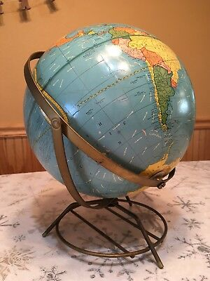Vintage Retro Map Globe Two Way Spin