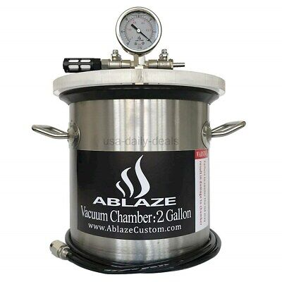 ABLAZE 2 Gallon Gal Vacuum Chamber Stainless Steel Degassing Urethanes Silicone