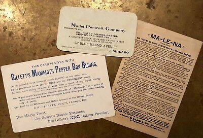 LOT 3 Vintage Antique Turn of Century Early Advertisement Cards Advertising