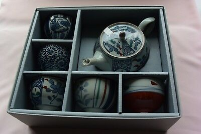 Arita Tea Set with teapot  and cups - Boxed Japanese Fine Porcelain
