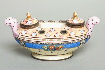 """Antique French Faience Polychrome Porcelain Inkwell Stand Bronze Fittings 8.25"""""""
