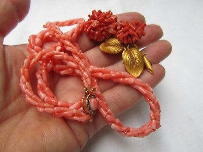 Antique Vintage French Coral & Gilt Metal Brooch & Coral Beaded Necklace