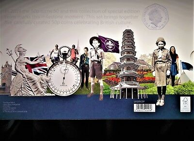 2019 UK 50p SILVER PROOF COIN SET LIMITED EDITION WITH SUPER RAREST KEW GARDEN