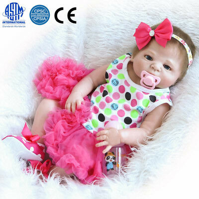 "23"" Reborn Full Body Silicone Girl Baby Doll Newborn Preemie Dolls Babies"