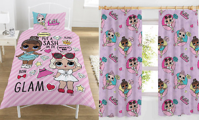 "Lol Surprise Single Bed & 66"" X 54"" Curtains Set Glam Dolls Pink Reversible Girl"