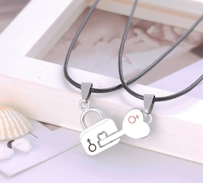 Couple Necklace Lock Key Pendant Heart Puzzle Two Halves Lovers Gift Necklaces