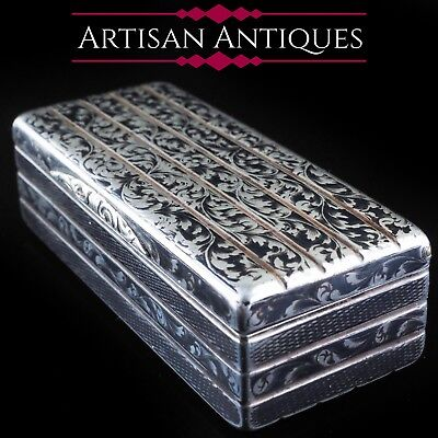 Antique Imperial Russian Niello Silver Snuff Box 1842