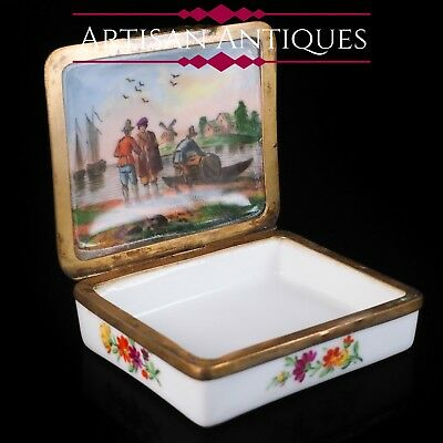 Antique German Hand Painted Porcelain Snuff Box - c.18th Century