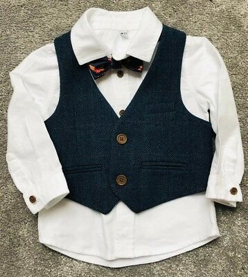 Baby Boys Marks & Spencer Formal Shirt With Blue Tweed Waistcoat & Bowtie 9-12 M