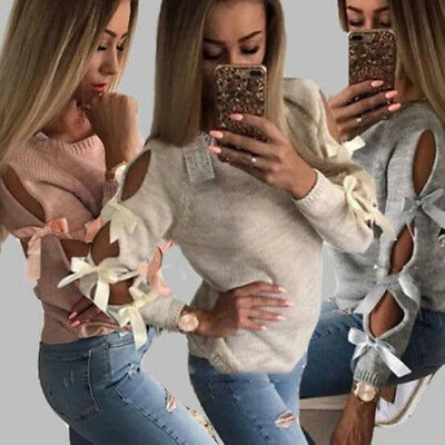 Hollow Out Long Sleeve Knitting Sweater Autumn Pullover Women Bow Loose Tops
