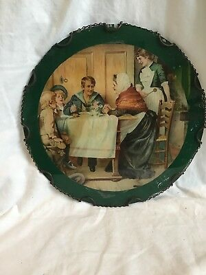 Antique Glass Flue Cover. Military Man Eating A Meal