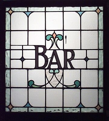 "English Victorian Leaded Glass Pub Sign/Window Panel (""Bar"")"